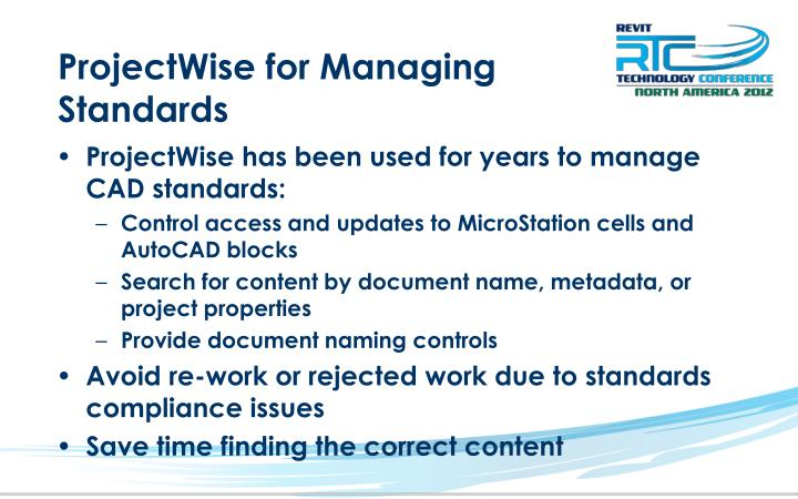 ProjectWise for Managing Standards