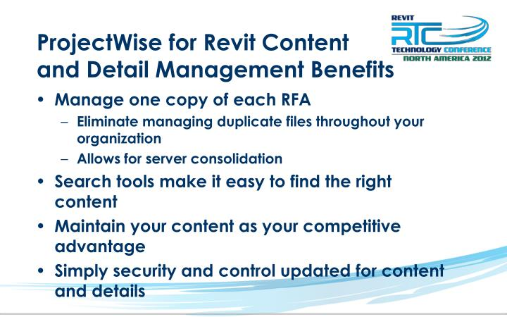 ProjectWise for Revit Content and Detail Management Benefits