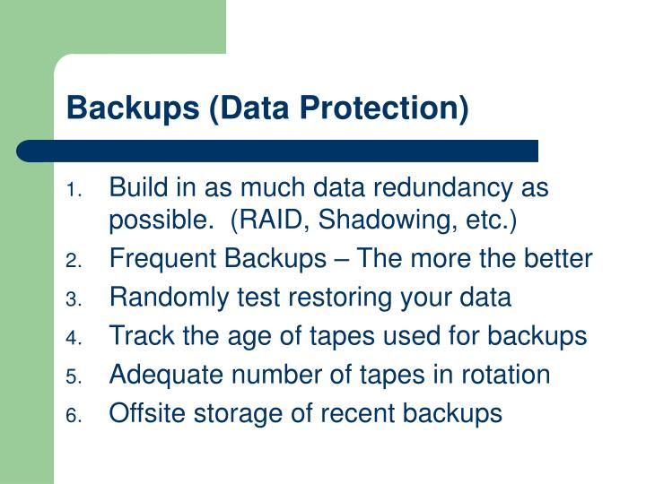 Backups (Data Protection)