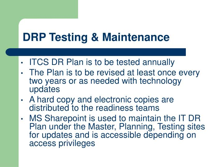 DRP Testing & Maintenance