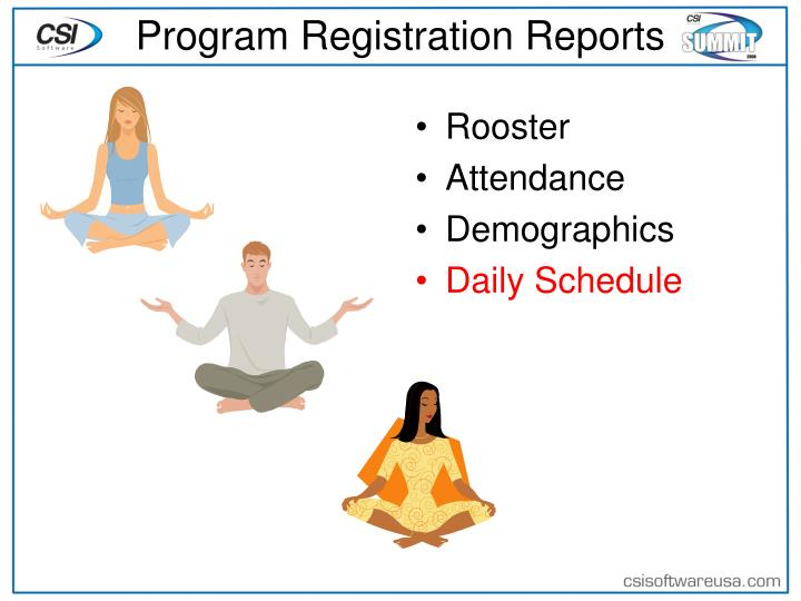 Program Registration Reports
