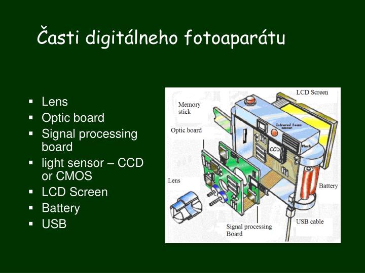 Časti digitálneho fotoaparátu