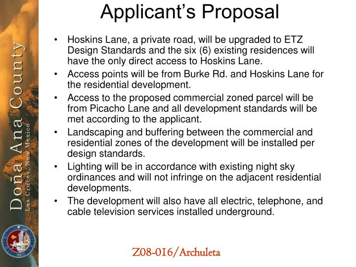 Applicant's Proposal