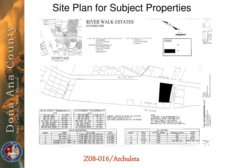 Site Plan for Subject Properties