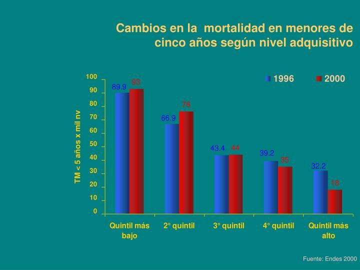 Cambios en la  mortalidad en menores de cinco años según nivel adquisitivo
