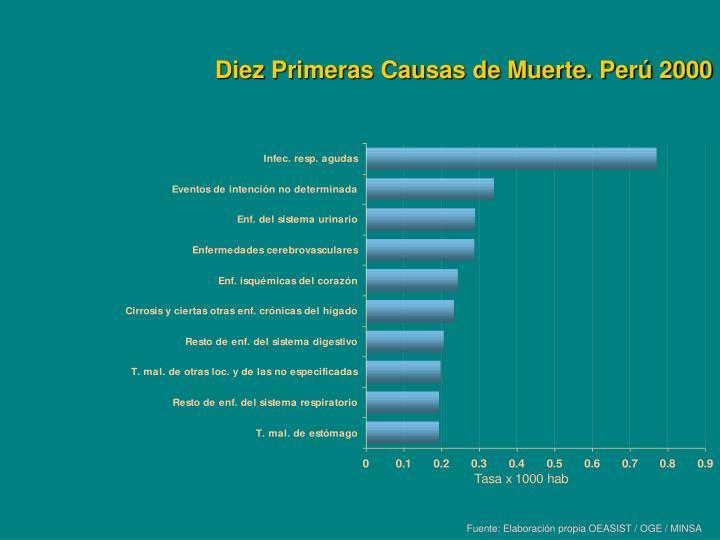 Diez Primeras Causas de Muerte. Perú 2000