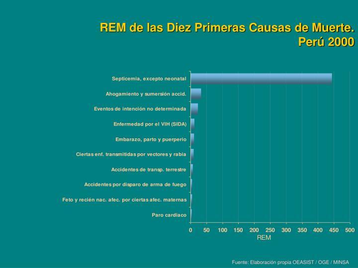 REM de las Diez Primeras Causas de Muerte. Perú 2000
