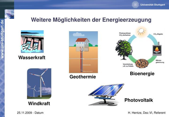 Weitere Möglichkeiten der Energieerzeugung