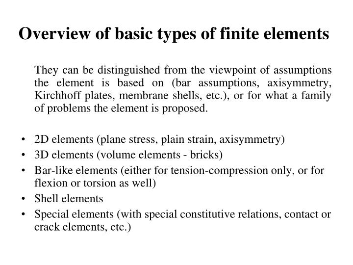 Overview of basic types of finite elements