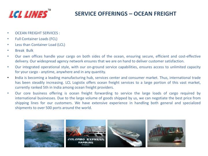 SERVICE OFFERINGS – OCEAN FREIGHT