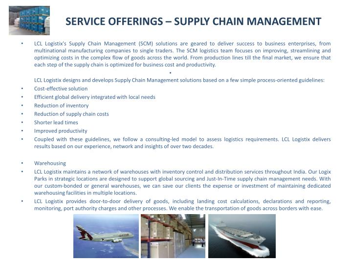 SERVICE OFFERINGS – SUPPLY CHAIN MANAGEMENT