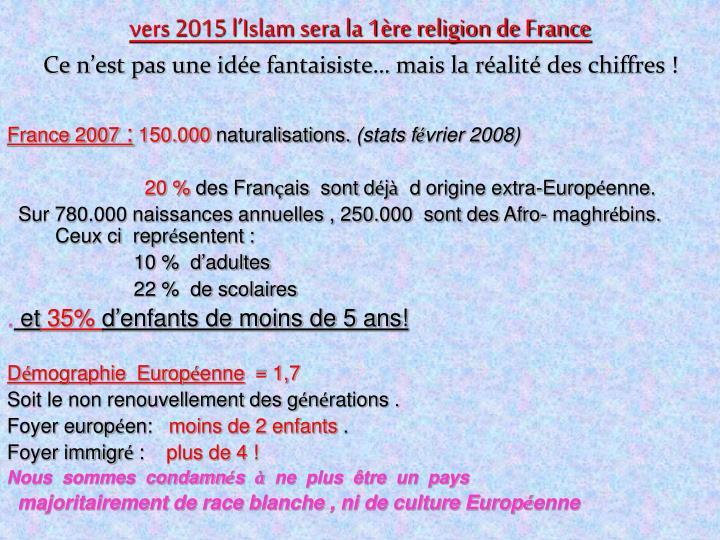 vers 2015 l'Islam sera la 1ère religion de France