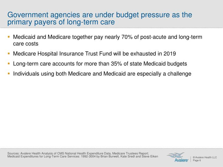 Government agencies are under budget pressure as the primary payers of long-term care