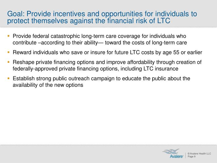 Goal: Provide incentives and opportunities for individuals to protect themselves against the financial risk of LTC