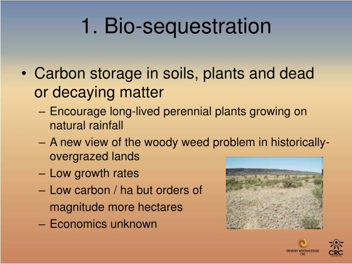 Carbon storage in soils, plants and dead or decaying matter