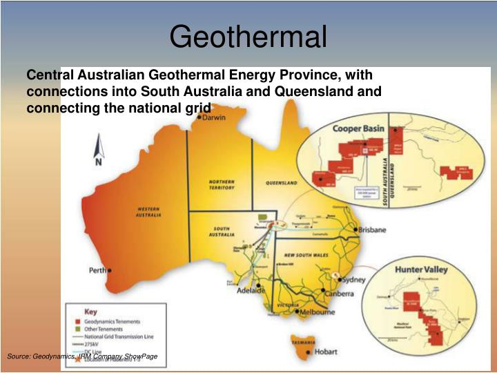 Central Australian Geothermal Energy Province, with connections into South Australia and Queensland and connecting the national grid