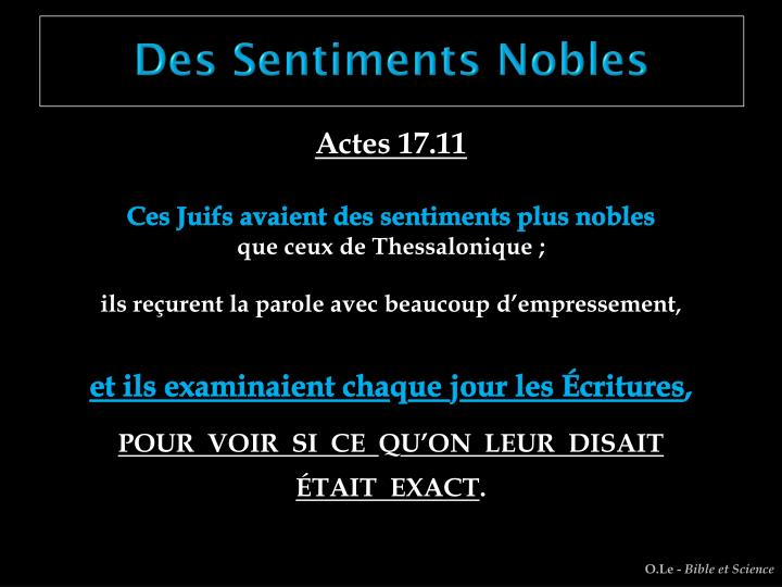 Des Sentiments Nobles