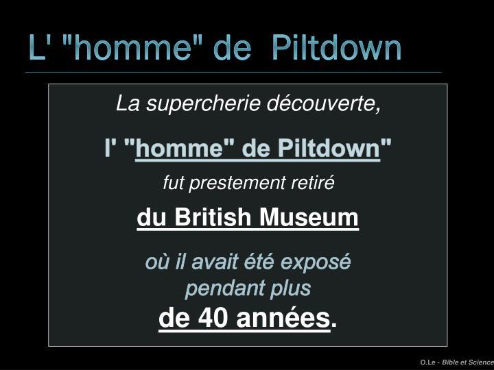 """L' """"homme"""" de  Piltdown"""