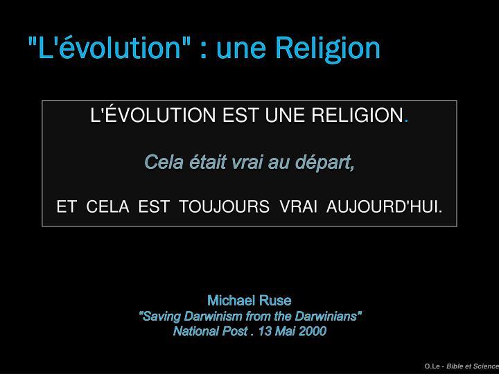 """""""L'évolution"""" : une Religion"""