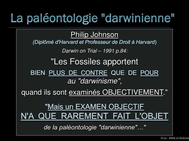 "La paléontologie ""darwinienne"""