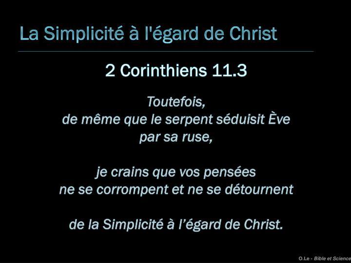 La Simplicité à l'égard de Christ