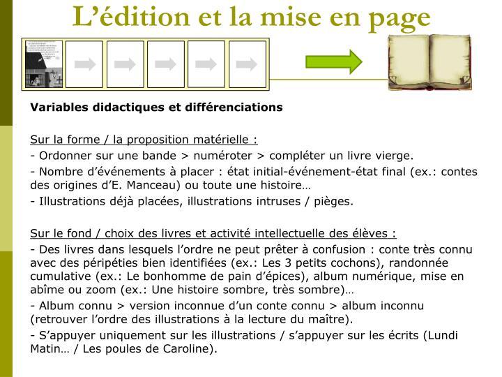 L'édition et la mise en page