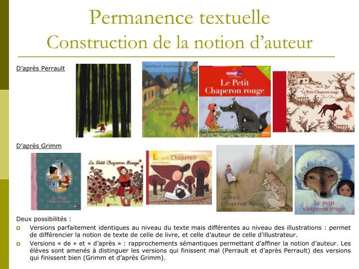 Permanence textuelle