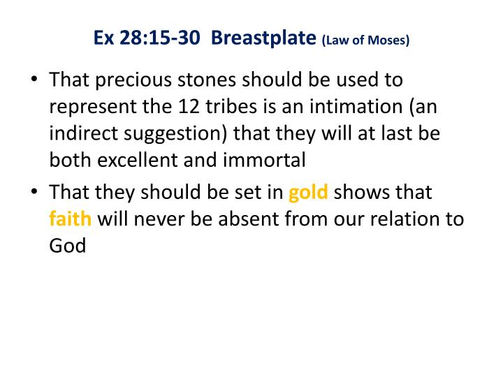 Ex 28:15-30  Breastplate