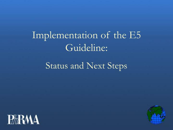 Implementation of the e5 guideline status and next steps