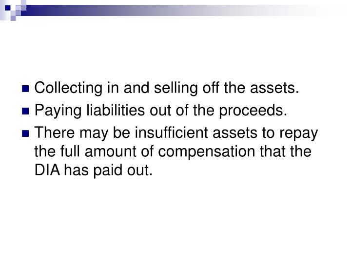 Collecting in and selling off the assets.