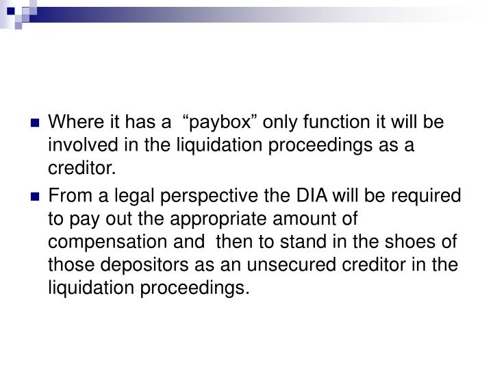 """Where it has a  """"paybox"""" only function it will be involved in the liquidation proceedings as a creditor."""