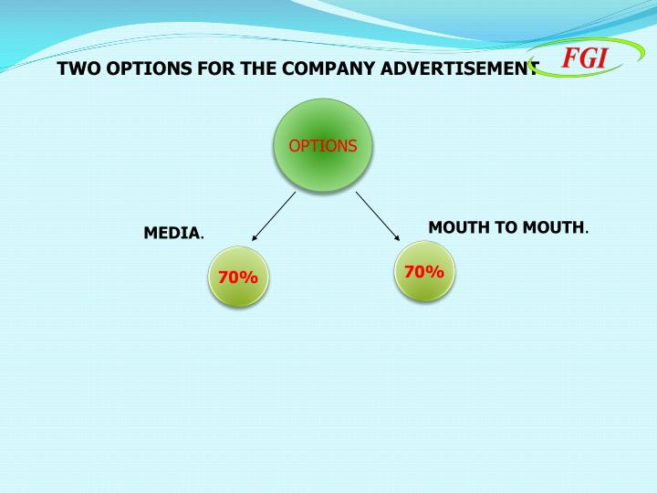 TWO OPTIONS FOR THE COMPANY ADVERTISEMENT