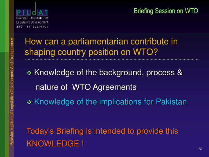 Briefing Session on WTO