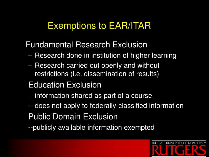 Exemptions to EAR/ITAR
