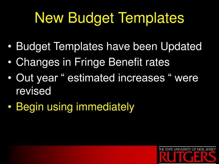 New Budget Templates