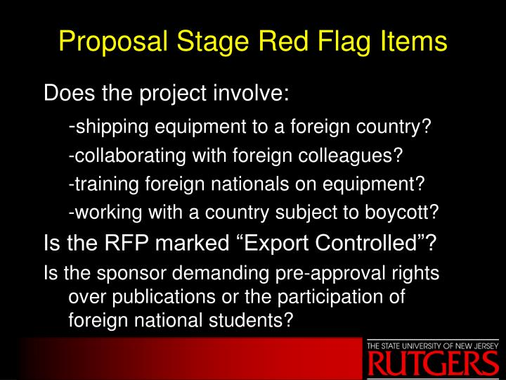 Proposal Stage Red Flag Items