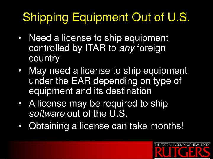 Shipping Equipment Out of U.S.