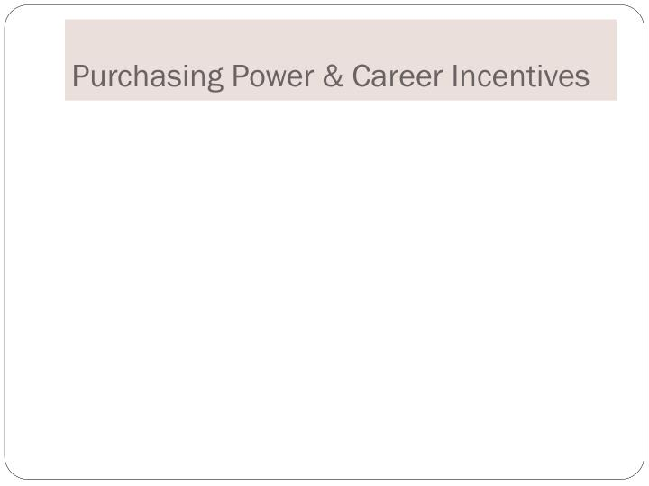 Purchasing Power & Career Incentives