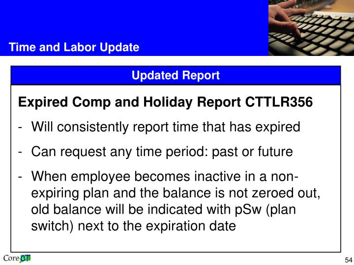 Expired Comp and Holiday Report CTTLR356