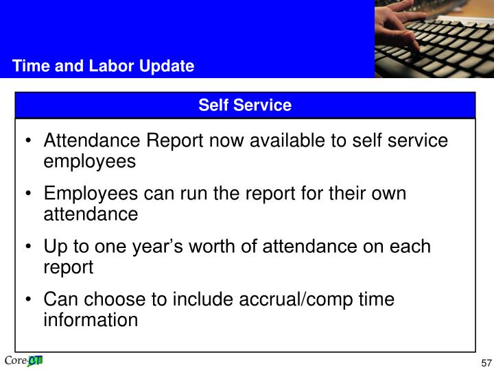 Attendance Report now available to self service employees