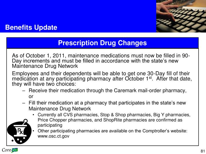 As of October 1, 2011, maintenance medications must now be filled in 90-Day increments and must be filled in accordance with the state's new Maintenance Drug Network
