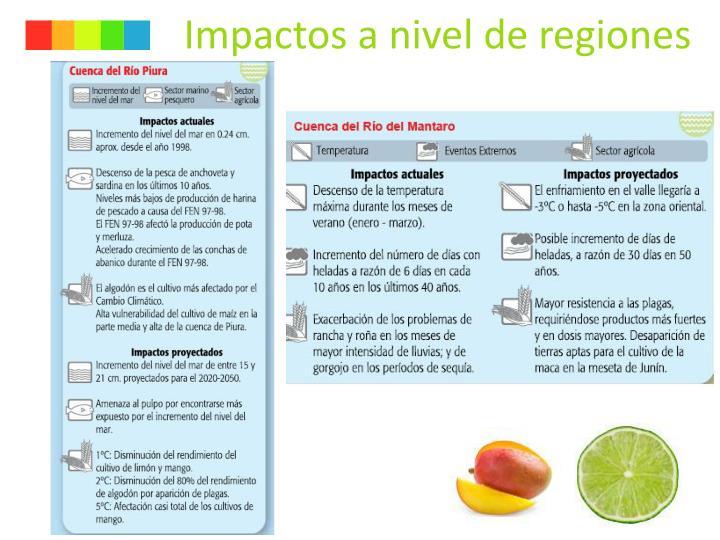 Impactos a nivel de regiones