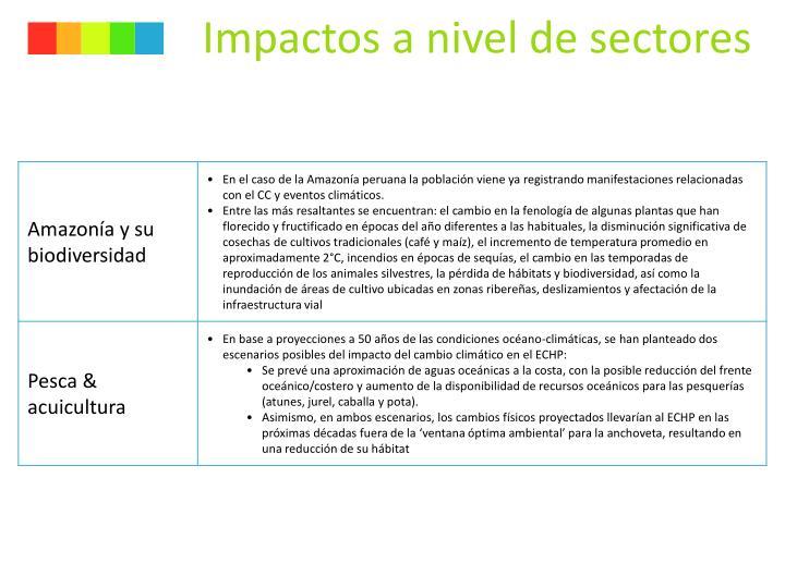 Impactos a nivel de sectores