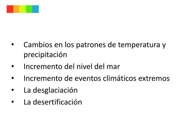 Cambios en los patrones de temperatura y precipitación