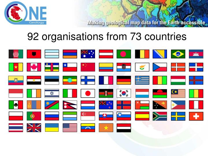 92 organisations from 73 countries