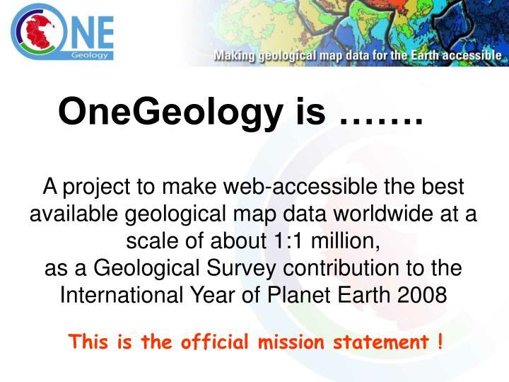 OneGeology is …….