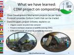 what we have learned cdm project on composting
