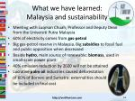 what we have learned malaysia and sustainability