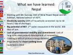 what we have learned nepal