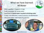 what we have learned newater